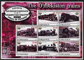 Uzbekistan 2001 Steam Trains #1 perf sheetlet containing 8 values unmounted mint