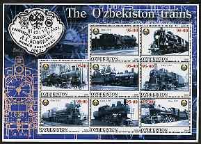 Uzbekistan 2001 Steam Trains #2 perf sheetlet containing 8 values unmounted mint