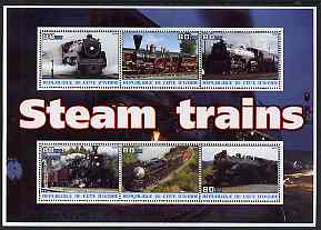 Ivory Coast 2003 Steam Trains #1 perf sheetlet containing 6 values unmounted mint