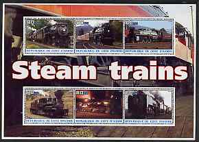 Ivory Coast 2003 Steam Trains #2 perf sheetlet containing 6 values unmounted mint