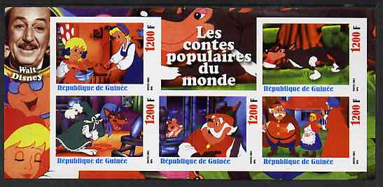Guinea - Conakry 2003 Walt Disney - Fairy Tales #2 - Little Red Riding Hood imperf sheetlet containing 5 values unmounted mint