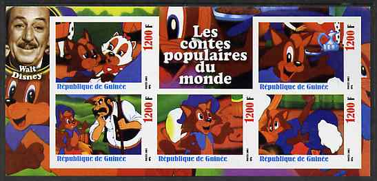 Guinea - Conakry 2003 Walt Disney - Fairy Tales #3 - The Red Fox imperf sheetlet containing 5 values unmounted mint