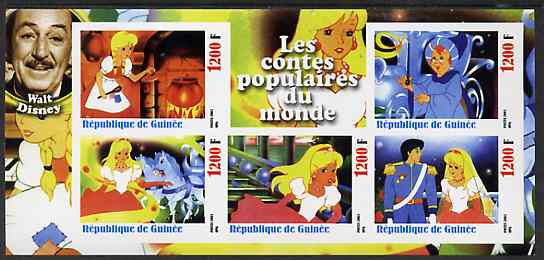 Guinea - Conakry 2003 Walt Disney - Fairy Tales #4 - Cinderella imperf sheetlet containing 5 values unmounted mint