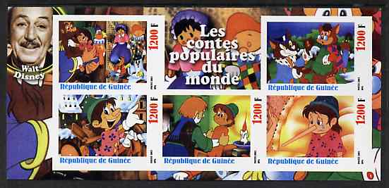 Guinea - Conakry 2003 Walt Disney - Fairy Tales #5 - Pinocchio imperf sheetlet containing 5 values unmounted mint