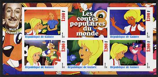 Guinea - Conakry 2003 Walt Disney - Fairy Tales #6 - Alice in Wonderland imperf sheetlet containing 5 values unmounted mint