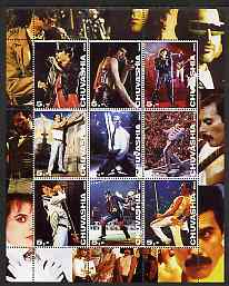 Chuvashia Republic 2003 Freddy Mercury perf sheetlet containing set of 9 values unmounted mint