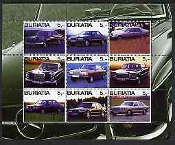 Buriatia Republic 2003 Mercedes Cars perf sheetlet containing set of 9 values unmounted mint