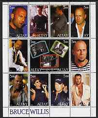 Altaj Republic 2000 Bruce Willis perf sheetlet containing set of 12 values unmounted mint