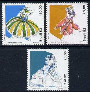 Brazil 1982 Orixas, Religious Costumes set of 3, SG 1970-72 unmounted mint