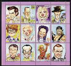 Udmurtia Republic 2001 Caricatures of Movie Stars #1 perf sheetlet containing set of 12 values unmounted mint