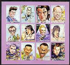 Udmurtia Republic 2001 Caricatures of Movie Stars #2 imperf sheetlet containing set of 12 values unmounted mint