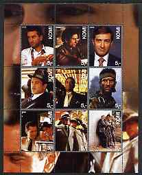 Komi Republic 2003 Robert De Niro perf sheetlet containing set of 9 values unmounted mint