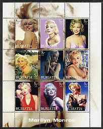 Buriatia Republic 2003 Marilyn Monroe perf sheetlet containing set of 9 values unmounted mint
