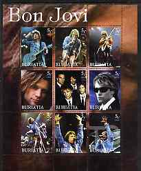 Buriatia Republic 2003 Bon Jovi #1 perf sheetlet containing set of 9 values (vert format) unmounted mint