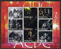 Buriatia Republic 2003 AC/DC #1 perf sheetlet containing set of 9 values (red outer frame) unmounted mint