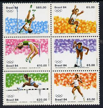Brazil 1984 Olympic Games set of 6 in se-tenant block, SG 2066-72