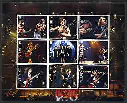 Buriatia Republic 2003 AC/DC #2 perf sheetlet containing set of 9 values (black outer frame) unmounted mint