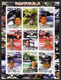 Tadjikistan 2001 Formula 1 imperf sheetlet #1 containing set of 9 values unmounted mint, stamps on cars, stamps on racing cars, stamps on formula 1, stamps on  f1 , stamps on shells