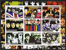 Kyrgyzstan 2001 The Beatles #1 imperf sheetlet containing set of 9 values unmounted mint