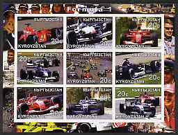 Kyrgyzstan 2001 Formula 1 imperf sheetlet containing set of 9 values unmounted mint