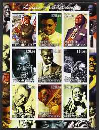 Turkmenistan 2001 Louis Armstrong imperf sheetlet containing 9 values unmounted mint