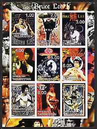 Tadjikistan 2001 Bruce Lee imperf sheetlet containing set of 9 values unmounted mint