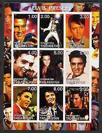 Tadjikistan 2001 Elvis Presley imperf sheetlet containing 9 values unmounted mint