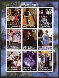 Tadjikistan 2001 Edgar Degas imperf sheetlet containing 9 values unmounted mint