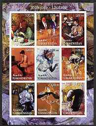 Turkmenistan 2001 Toulouse-Lautrec imperf sheetlet containing 9 values unmounted mint
