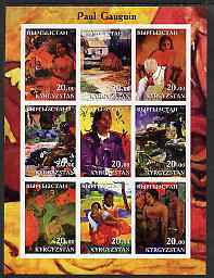 Kyrgyzstan 2001 Paul Gauguin imperf sheetlet containing 9 values unmounted mint