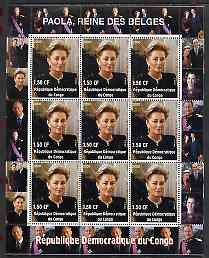 Congo 2000 The Belgian Royal Family - Queen Paola perf sheetlet containing 9 values unmounted mint