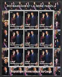 Congo 2000 The Belgian Royal Family - King Baudouin & Queen Fabiola perf sheetlet containing 9 values unmounted mint