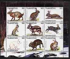 Tadjikistan 1999 Rabbits perf sheetlet containing 9 values unmounted mint