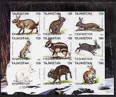 Tadjikistan 1999 Rabbits imperf sheetlet containing 9 values unmounted mint