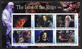 Ivory Coast 2003 The Lord of the Rings imperf sheetlet containing set of 6 values unmounted mint