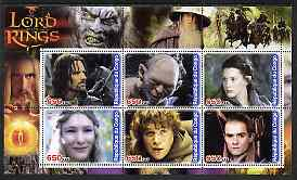 Congo 2003 Lord of the Rings #1 perf sheetlet containing set of 6 values unmounted mint