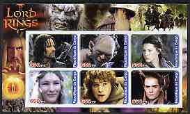 Congo 2003 Lord of the Rings #1 imperf sheetlet containing set of 6 values unmounted mint