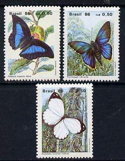 Brazil 1986 Butterflies set of 3 unmounted mint, SG 2219-21