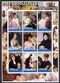 Somalia 2002 Impressionists - Berthe Morisot imperf sheetlet containing 9 values unmounted mint
