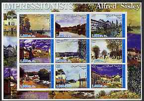 Somalia 2002 Impressionists - Alfred Sisley imperf sheetlet containing 9 values unmounted mint
