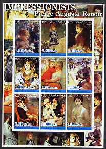 Somalia 2002 Impressionists - Pierre Auguste Renoir imperf sheetlet containing 9 values unmounted mint