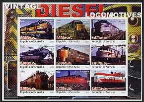 Somalia 2002 Diesel Locomotives #1 imperf sheetlet containing set of 9 values unmounted mint