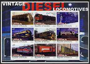 Somalia 2002 Diesel Locomotives #2 imperf sheetlet containing set of 9 values unmounted mint