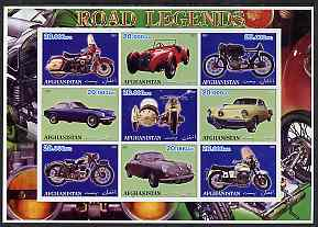 Afghanistan 2001 Road Legends imperf sheetlet containing set of 9 values unmounted mint (5 Motorcycles & 4 cars), stamps on cars, stamps on motorbikes
