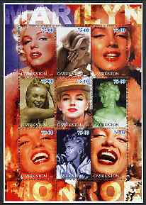 Uzbekistan 2002 Marilyn Monroe #1 perf sheetlet containing set of 9 values unmounted mint (Inscribed Marilyn)