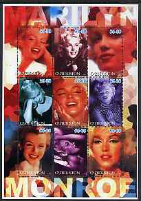 Uzbekistan 2002 Marilyn Monroe #2 perf sheetlet containing set of 9 values unmounted mint (Inscribed Marilyn)