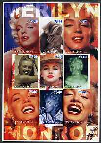 Uzbekistan 2002 Marilyn Monroe #1 imperf sheetlet containing set of 9 values unmounted mint (Inscribed Merilyn)