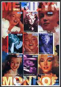 Uzbekistan 2002 Marilyn Monroe #2 imperf sheetlet containing set of 9 values unmounted mint (Inscribed Merilyn)