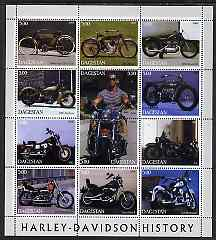 Dagestan Republic 2000 Harley-Davidson Motorcycles perf sheetlet containing 12 values unmounted mint, stamps on motorbikes