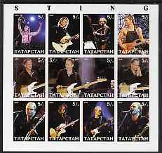 Tatarstan Republic 2000 Sting imperf sheetlet containing 12 values unmounted mint, stamps on music, stamps on pops, stamps on personalities, stamps on rock